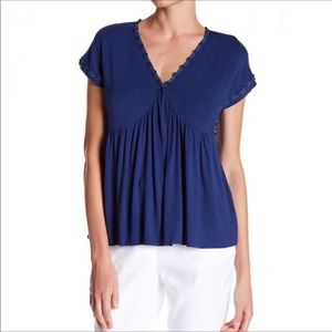Nanette Lepore Embroidered Baywater Blue Flowy Top